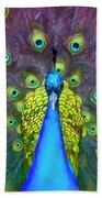 Whimsical Peacock Beach Towel