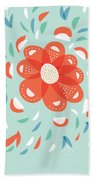 Whimsical Red Flower Beach Towel