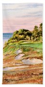 Whistling Straits Golf Course 17th Hole Beach Towel by Bill Holkham