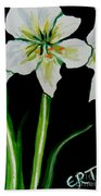White Amaryllis Beach Towel