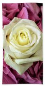 White And Pink Roses Beach Towel