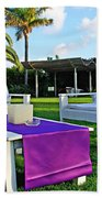 White And Purple Beach Towel
