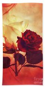 White And Red Roses Beach Towel