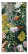 White And Yellow Chrysanthemums Beach Towel by Gustave Caillebotte