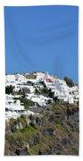 White Architecture In The City Of Oia In Santorini, Greece Beach Towel