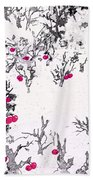 White As Snow With Cherries Beach Towel
