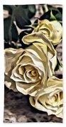 White Baby Roses Beach Towel