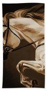 White Beautiful Horse  Beach Towel