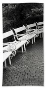 White Benches-  By Linda Wood Woods Beach Towel