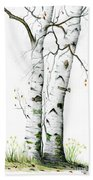White Birch Beach Towel