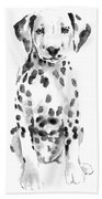 Dalmatian Dog Watercolor Painting, White Black Spotted Dalmatian Puppy Art Print Beach Towel