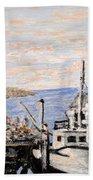 White Boat In Peggys Cove Nova Scotia Beach Towel