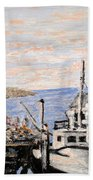 White Boat In Peggys Cove Nova Scotia Beach Towel