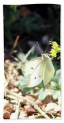 White Butterfly On Goldenseal Beach Towel