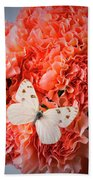 White Butterfly On Pink Carnations Beach Towel