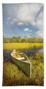 White Canoe Textured Painting Beach Towel