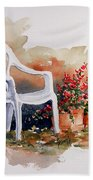 White Chair With Flower Pots Beach Towel