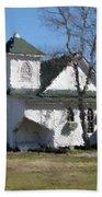 White Church Near The Lake Beach Towel