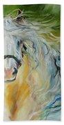 White Cloud The Andalusian Stallion Beach Towel