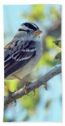 White-crowned Sparrow 0033-111017-1cr Beach Towel