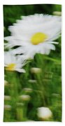White Daisy Digital Oil Painting Beach Towel