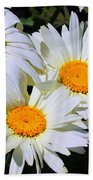 White Daisy Flowers Beach Towel
