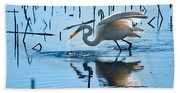 White Egret At Horicon Marsh Wisconsin Beach Towel