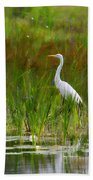 White Egret In Waiting Beach Towel
