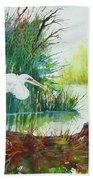 White Egret Swamp Beach Towel
