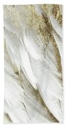 White Feathers With Gold Beach Towel