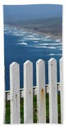 White Fence And Waves Beach Towel