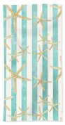 White Finger Starfish Watercolor Stripe Pattern Beach Towel