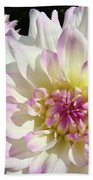 White Floral Art Bright Dahlia Flowers Baslee Troutman Beach Towel