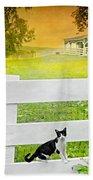 White Gate Cat Beach Towel