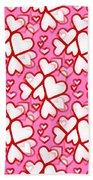 White Hearts - Valentines Pattern Beach Towel