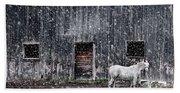 White Horse In A Snowstorm  Beach Towel