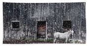 White Horse In A Snowstorm  Beach Sheet