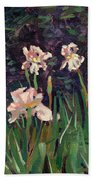 White Irises Beach Towel