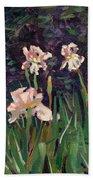 White Irises Beach Towel