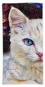 White Kitten With Blue Eyes Beach Sheet
