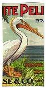 White Pelican Fruit Crate Label C. 1920 Beach Towel