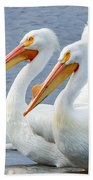 White Pelicans At Nelson Lake Beach Towel