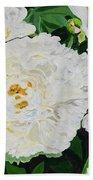 White Peony Garden Beach Towel