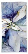White Poinsettia Beach Towel