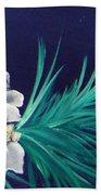 White Poinsettia On Blue Beach Towel