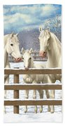 White Quarter Horses In Snow Beach Towel