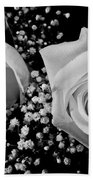 White Roses Bw Fine Art Photography Print Beach Towel