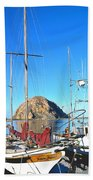 White Sail Boat Morro Rock  Beach Towel