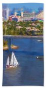 White Sailboat On The Water Beach Towel