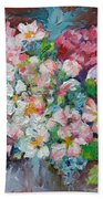 White Sakura - Floral Cherry Tree Blossom Oil Color Painting Beach Towel
